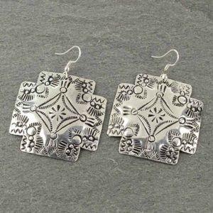 Handmade Western Textured Fish Hook Earrings